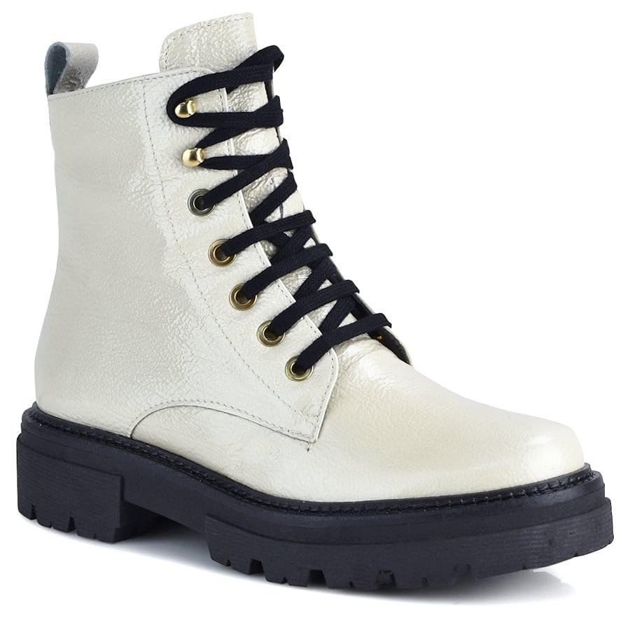 Δερμάτινο λευκό biker boot Pitillos 1121