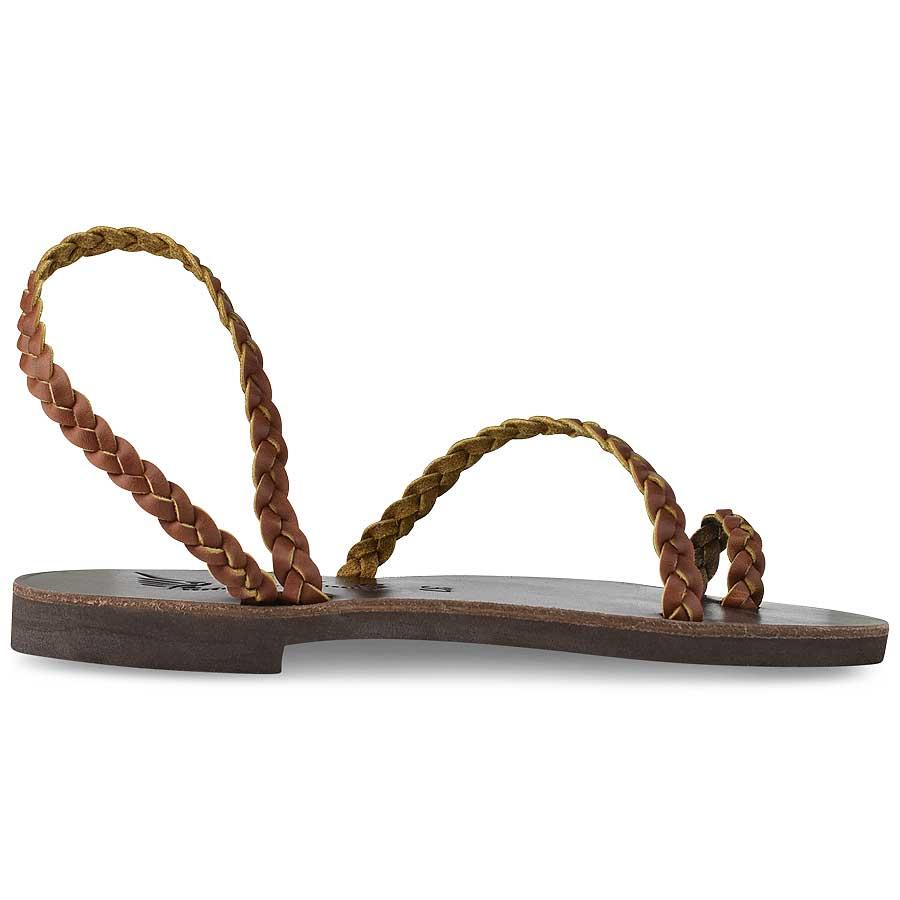 Δερμάτινο καφέ σανδάλι με κοτσίδα Iris Sandals IR4/47
