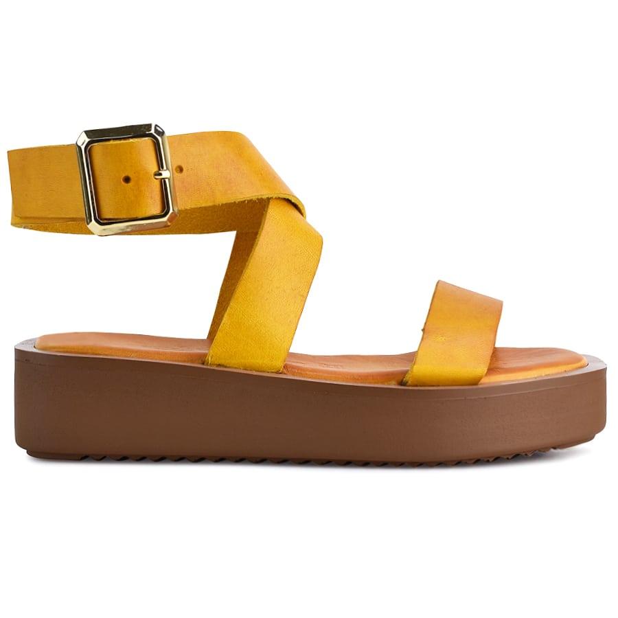 Δερμάτινo κίτρινο flatform Fratelli Robinson 5121