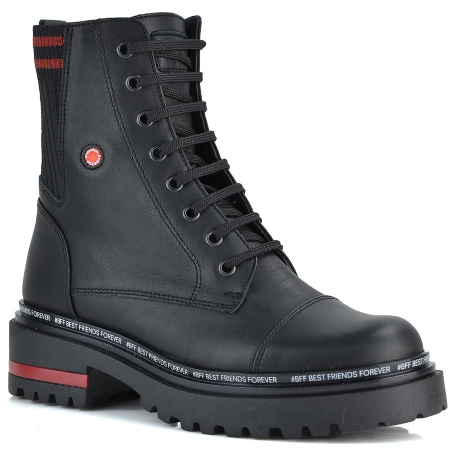 Δερμάτινο μαύρο biker boot Fratelli Robinson 7215