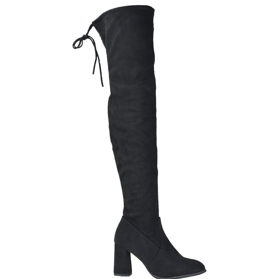 Μαύρη σουεντ μπότα πάνω απο το γόνατο Lets Walk JN77-02