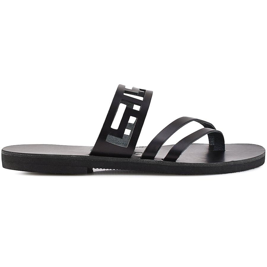 Μαύρη δερμάτινη σαγιονάρα μέανδρος Iris Sandals IR8/5