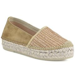Leather camel straw espadrilles Viguera 0080