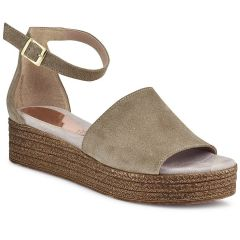 Leather taupe flatform RD085