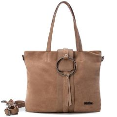 Leather taupe shoulder bag Carmela 83315