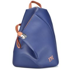 Blue eco-leather backpack Pierro Accessories 09517