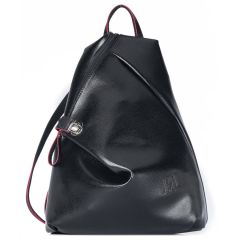 Black eco-leather backpack Pierro Accessories 09517