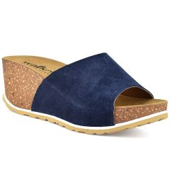 Leather blue comfort platform Walkme 101-003