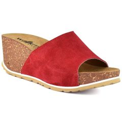 Leather red comfort platform Walkme 101-003