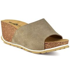 Leather taupe comfort platform Walkme 101-003