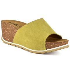 Leather yellow comfort platform Walkme 101-003