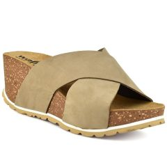 Leather taupe comfort platform Walkme 101-010