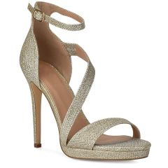Gold lurex high heel sandal BLJY1527