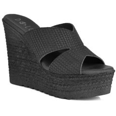 Leather black wedge Dolce 207007