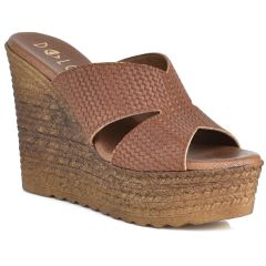 Leather tabac wedge Dolce 207007