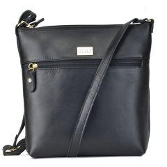 Δερμάτινη μαύρη χιαστή τσάντα Dolce 2080130