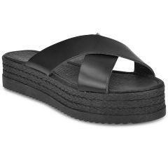 Black leather criss cross flatform SD226