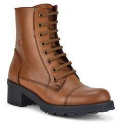 Leather tabac biker boot Fratelli Robinson 3455