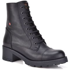 Leather black biker boot Fratelli Robinson 3455