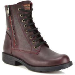 Leather bordeaux biker boot Fratelli Robinson 3554