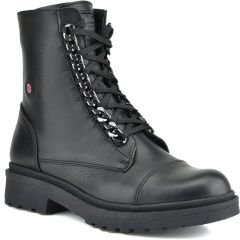 Leather black biker boot Fratelli Robinson 3530