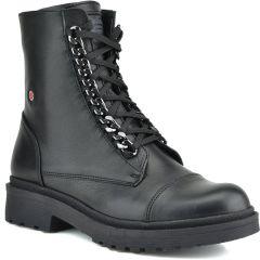 Leather black biker boot Fratelli Robinson 3530
