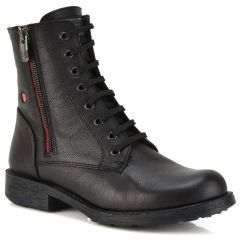 Leather black biker boot Fratelli Robinson 3554