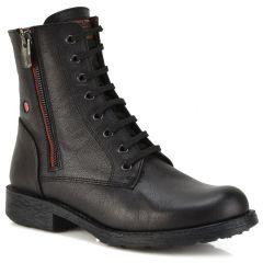 Leather black biker boot Fratelli Robinson 7112