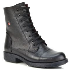 Leather black biker boot Fratelli Robinson 3555