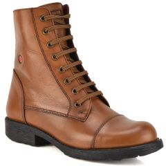 Leather tabac biker boot Fratelli Robinson 3555