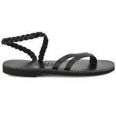 Black leather sandal with braid Iris Sandals IR4/13