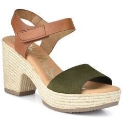 Leather khaki heel sandal Oh my Sandals 4604
