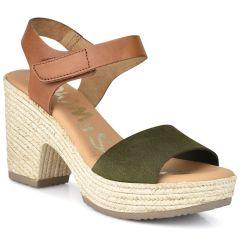 Δερμάτινο χακί πέδιλο Oh my Sandals 4606