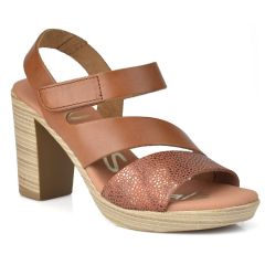 Leather tabac heel sandal Oh my Sandals 4609