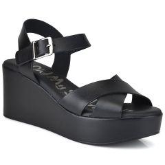 Δερμάτινη μαύρη πλατφόρμα Oh my Sandals 4616