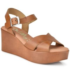 Leather tabac wedge Oh my Sandals 4616