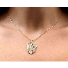 Pink gold necklace in leaf shape CO150
