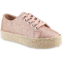 Ροζ μεταλλικό παιδικό sneakers Doremi 66-2