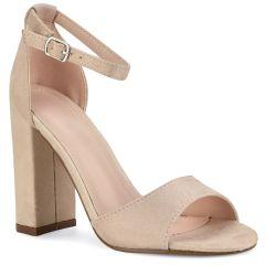 Nude suede heel sandal P6700