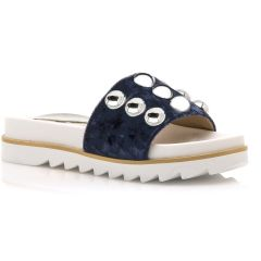 Blue velvet slippers with studs MariaMare 67210