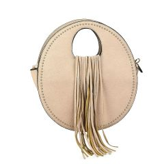 Ecru handbag with fringes 6933