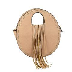 Beige handbag with fringes 6933