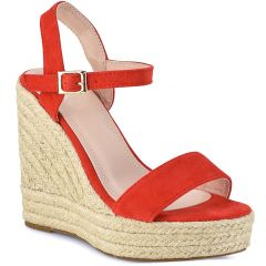 Red suede wedge 7067-3