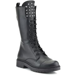 Leather black biker boot Fratelli Robinson 7112