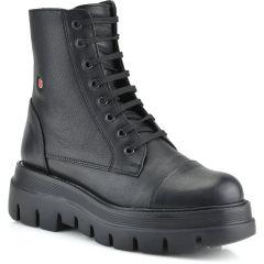 Leather black biker boot Fratelli Robinson 7250