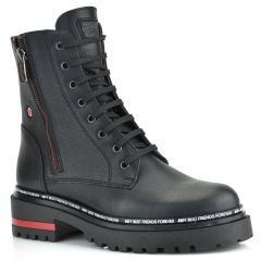 Leather black biker boot Fratelli Robinson 7254