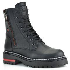 Δερμάτινο μαύρο biker boot Fratelli Robinson 7254