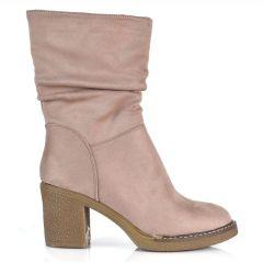 Pink suede bootie Lets Walk JN77-15