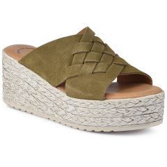 Leather khaki flatform Wikers 87222