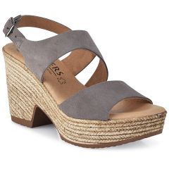 Leather grey heel sandal Wikers 88082